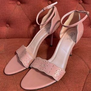 Carlos Santana Pink Heels with Floral Perforation
